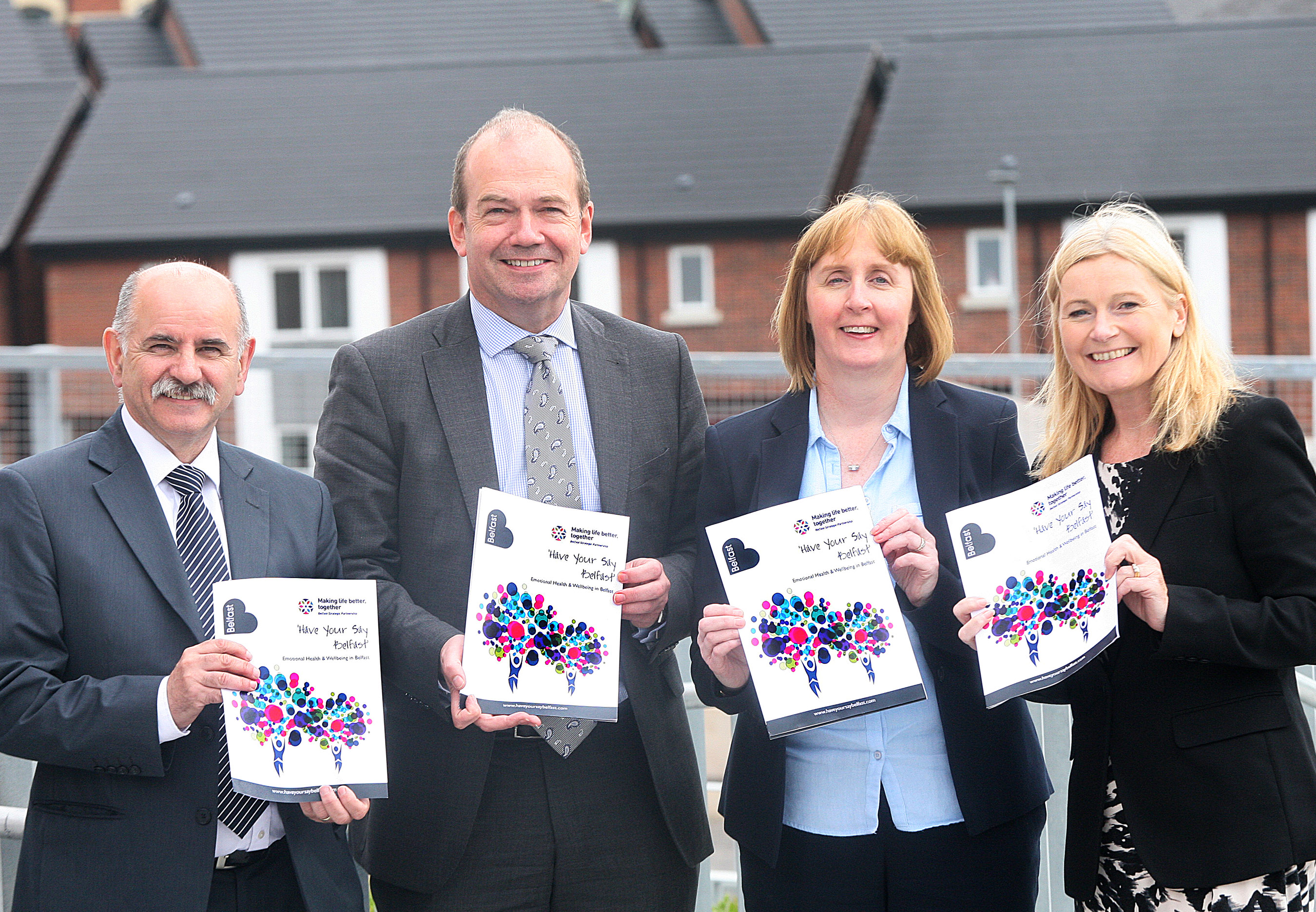 Launching the Have Your Say Belfast Survey are (L-R): Dr Eddie Rooney and Dr Michael McBride, Co-Chairs of the Belfast Strategic Partnership (BSP); Irene Sherry, Chair of BSP Mental Health & Emotional Wellbeing Thematic Group and Siobhan Toland, Head of Environment Health & Lead Operations Officer of City and Neighbourhoods Services, BCC.